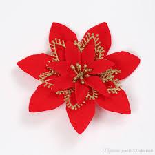 Großhandel 20 Cm Künstliche Blumen Rot Silber Gold Farbe Weihnachtsschmuck Für Zuhause Weihnachtsbaum Ornamente Weihnachtsbaum Neujahr Dekor Von