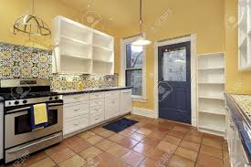 Terracotta Floor Tiles Kitchen Kitchen In Suburban Home With Terra Cotta Floor Tile Stock Photo