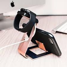 iphone holder. aluminium apple watch 2 / 1 stand with iphone holder - rose gold iphone d