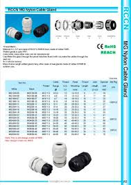 Cable Gland Pg Size Chart Mg Nylon Cable Gland Shanghai Richeng Electronics Pdf