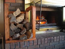 picture of indoor firewood rack made using raw firewood