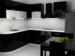 Black White Kitchen Cabinets With Black Kitchen Cabinet And Black Dining  Table And White Counter Top