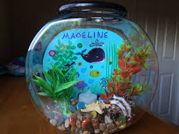 DIY fishbowl craft for kids: plastic 1 gallon fishbowl, blue cardstock,  fish stickers