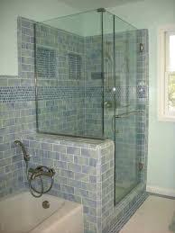 pony wall bathroom guest bath shower u with ideas for contemporary recessed half glass walls enclosure