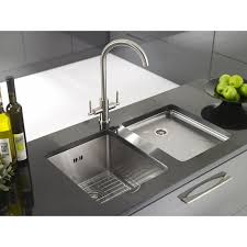 modern stainless steel sink with drainboard
