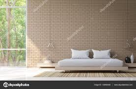 Moderne Schlafzimmer Dekorieren Wand Mit Backstein 3d Rendering Bild