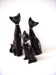 vintage mid century modern black cat figurines eames era stylized