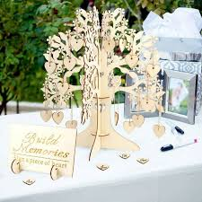 details about wood tree wedding guest book wishing tree wooden hearts pendant ornaments