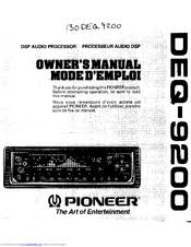 pioneer deq equalizer crossover manuals manuals and user guides for pioneer deq 9200 equalizer crossover we have 1 pioneer deq 9200 equalizer crossover manual available for pdf