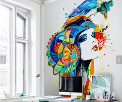 girl parrot abstract painting wall mural photo wallpaper rolls for living room study room wall