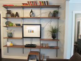 Living Room:Corner Black Wooden Living Room Shelves With Five Graded Racks  Connected By Small