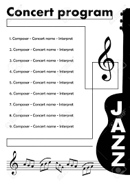 Program Notes Template Jazz Concert Program Template With Cut Out Of Guitar Treble