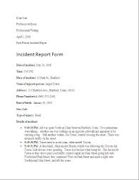 Best Photos Of Writing An Incident Report Sample Incident