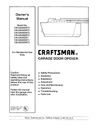 craftsman garage door opener manual. Craftsman Garage Door Opener 13953646srt2 User Guide Manual A