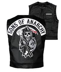 sons of anarchy officially licensed black redwood original samcro biker vest with reaper patch medium