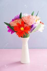 Paper Flower Bouquet In Vase Bouquet Of Handmade Paper Flowers In A Vase