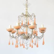 vintage italian crystal chandelier with macaroni beads and opaque pink crystals on iron frame