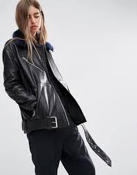 affordable women asos white leather biker with detachable faux fur collar 6292 black navy
