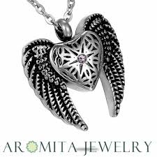 new angel heart wings cremation jewelry ashes keepsake memorial urn necklace