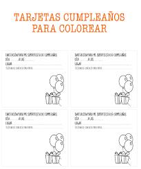 tarjetas de cumplea os para ni as tarjetas de cumpleaños para colorear manualidades