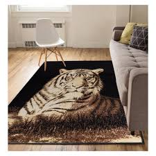 well woven miami tiger animal print novelty black 5 ft x 7 ft area