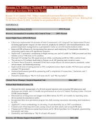 resume specialties examples resume cv military trained director of perioperative