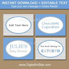 Boy Baby Shower Labels Blue Gray Candy Buffet Labels Tent Cards
