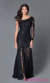 One Shoulder Long Sleeve Black Lace Dress