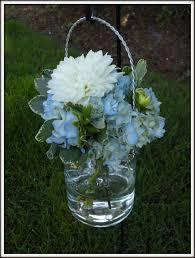 Blue Mason Jars Wedding Decor Wedding Flowers In Blue Mason Jars Blue mason jar wedding 97