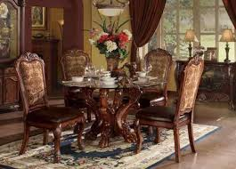 acme 60010 dresden cherry oak glass round dining table