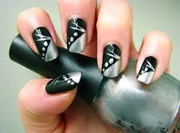 black and silver nail art