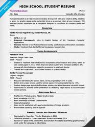 Resume Example High School Examples Of Resumes
