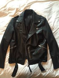all saints mens biker leather jacket xs for