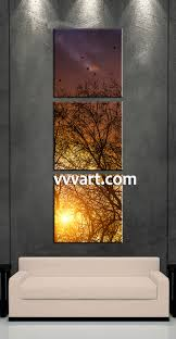 smart inspiration large vertical wall art 3 piece yellow sunrise scenery pictures forest artwork living room