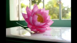 How To Make Big Lotus Flower From Paper How To Make Lotus Flower From Crepe Paper Youtube