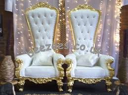 our throne chairs are of white leather and come in 2 distinct colours of royalty silver and gold you have a choice of silver or gold finishing