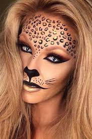 makeup tiger lion cat leopard simple costume gold dots outlined with liquid black eyeliner eye nose