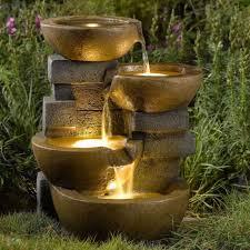 outdoor garden decor. outdoor water fountain led lights indoor garden decor patio yard cascading rock h