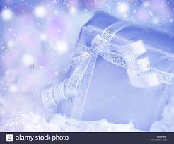 Winter Holiday Background With Blue Present Gift Box Silver