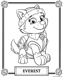 Print Paw Patrol Everest Coloring Pages Activities Crafts For