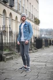 Levis Light Stonewash Jacket Levis Icy Trucker Denim Jacket And Adidas Charcoal Gazelle