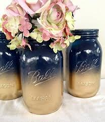 Set of 2 Navy Blue and Gold Painted Mason Jars Centerpieces Nautical Baby  Shower Decor Rustic