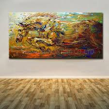 china dafen oil painting village factory whole impression horse oil painting on canvas running abstract horse
