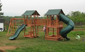 double swing set with slide