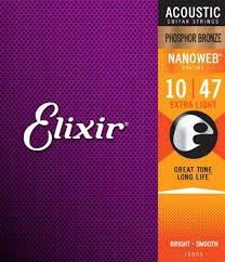 elixir 16002 nanoweb coated phosphor bronze acoustic extra light 10 47