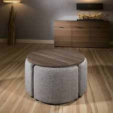 modern wenge round coffee table with 4 grey cushioned stools new joy