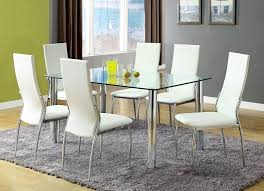 amazon furniture of america novae 7 piece dining set with white chairs kitchen dining