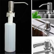 stainless steel kitchen soap dish dispenser detergent faucet sink lotion pump