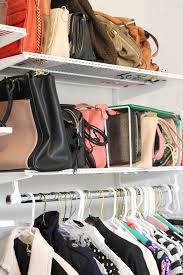 line up bags on overhead shelves place the ones you use the least on the highest shelves and keep your everyday bags on lower shelves you can more easily