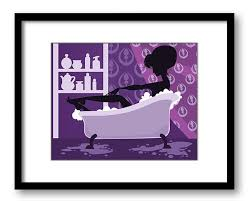purple bathtub wall art